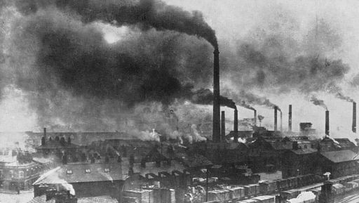 hotograph of Widnes in the late 19th century showing the effects of industrial pollution