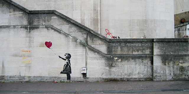 Banksy girl with a red balloon