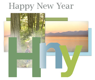 Happy New Year initials with forest and mountains