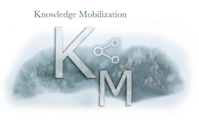Knowledge Mobilization Image with clouds over forest and share symbol