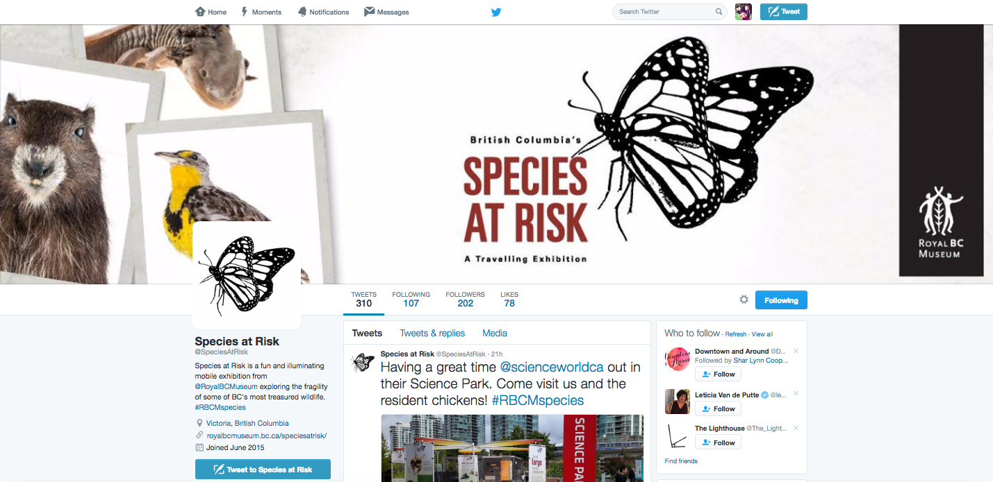 Species at Risk Twitter Page Royal British Columbia Museum