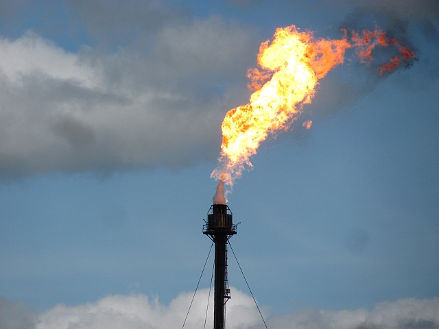Flare stack contributing to air pollution
